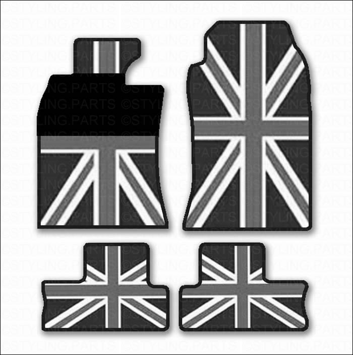 mini one cooper s carpets rubber union jack r55 r56 clubman 11 2006 ebay. Black Bedroom Furniture Sets. Home Design Ideas